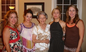 Unwittingly, we're in the same order as the picture from last week (with the addition of Mom in the middle).