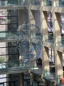 I was slow to realize that the hanging sculpture in the atrium depicted a face