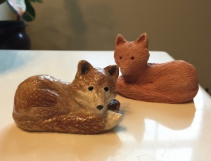 A little fox my mother made for me, and its terra cotta study